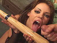 Huge monster dildo in her cunt.